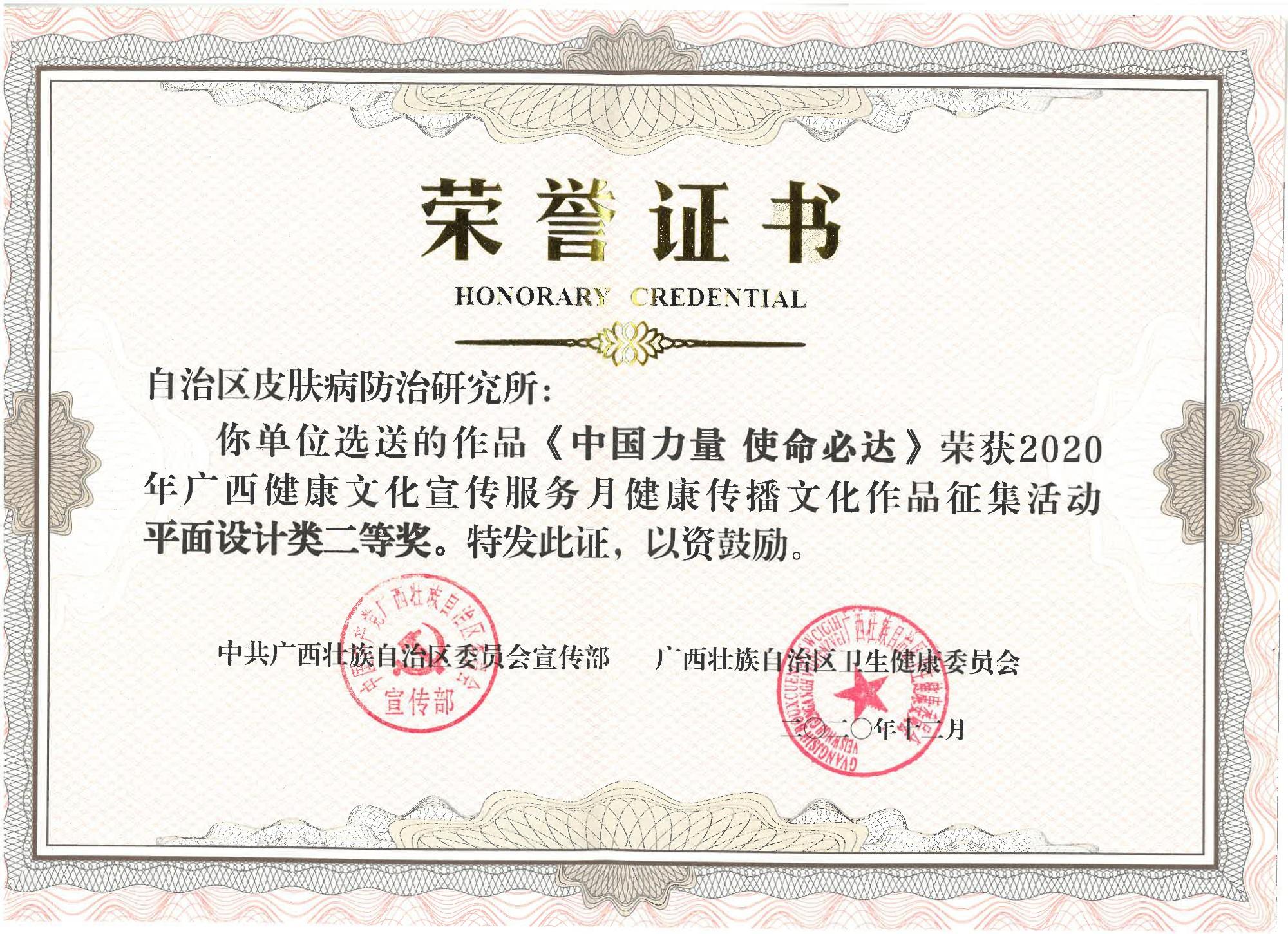 2020年获广西健康传播文化作品征集活动平面设计类二等奖